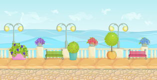Sunny cartoon seafront landscape, endless vector seaside background for computer games. Stone fence, plants, flowers, benches, pav Royalty Free Stock Photo