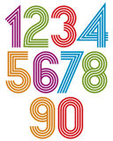 Sunny cartoon striped numbers with rounded corners. Stock Photos