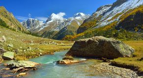 Sunny Caucasus. This is colorful landscape in Caucasus mountains in fall Royalty Free Stock Photo