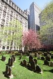 Sunny Cemetery in the city. Sunny view of the Trinity Church Cemetery in the heart of the financial district, New York royalty free stock photos