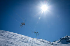 Sunny chairlift royalty free stock photos