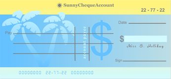 Sunny cheque. Generic sunny cheque account for spending your money on vacation Royalty Free Stock Image
