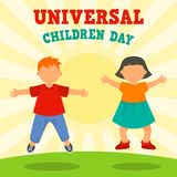 Sunny children day concept background, flat style royalty free illustration