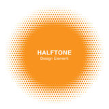 Sunny Circle Halftone Logo Design Element. Sun vector icon. Royalty Free Stock Image