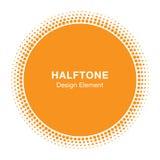 Sunny Circle Halftone Logo Design-Element Sun-Vektorikone Lizenzfreie Stockbilder
