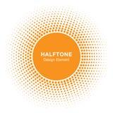 Sunny Circle Halftone Logo Design-Element Sun-Vektorikone Stockfotografie
