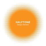 Sunny Circle Halftone Logo Design-Element Sun-Vektorikone Lizenzfreies Stockbild