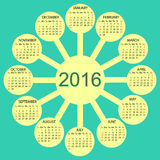 Sunny circles calendar 2016 new year. Week starts from Sunday royalty free illustration