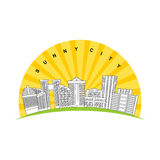 Sunny city. Logo for new modern prestigious district city. Skys Royalty Free Stock Photo