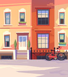 Sunny city street with a City Bicycle. Vector illustration Stock Photography