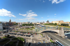 Sunny cityscape of the area of Europe at Kiev railway station. MOSCOW - MAY 24: Sunny cityscape of the area of Europe at the Kiev railway station, river and the Stock Photo