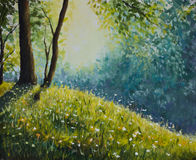 Sunny clearing in the summer forest. Original oil painting of sunny clearing in the summer forest on canvas. Modern Impressionism Art. Artwork Royalty Free Stock Photo