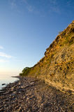 Sunny cliff steep at a stony coast Stock Images