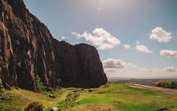 Sunny cliffs in Edinburgh royalty free stock photos