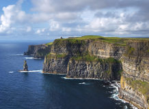 Sunny Cliffs of Moher. Cliffs of Ireland - highers cliff in Europe - 200m. high Royalty Free Stock Photography