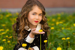 Sunny closeup portrait of pretty little girl with yellow dandeloin. Little girl with many dandelions. Happy girl with beautiful e royalty free stock photo