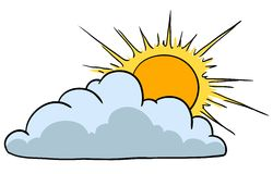 Sunny With Cloud. Vector illustration. Weather Icon Representing Sunny Weather With Clouds Stock Photography