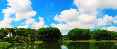 Sunny cloud day at lakeside. Panorama view of a sunny and cloudy sky at lakeside that calm as mirror stock image