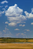 Sunny cloud lake wind power china Stock Images
