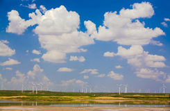 Sunny cloud lake wind power china Royalty Free Stock Photos