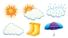 Sunny, cloudy and rainy weathers. Illustration of the sunny, cloudy and rainy weathers on a white background Stock Photos