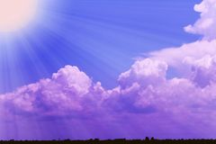 Sunny and Cloudy sky.there have so much sunlight effect on the cloud . Royalty Free Stock Photography