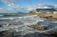 Sunny coast in Calpe Stock Image