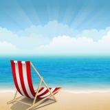 Sunny coast. Vector illustration of beach chairs at the sunny coast Royalty Free Stock Photography