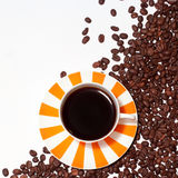 Sunny coffee cup and beans Royalty Free Stock Photography