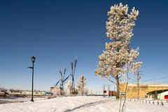 Sunny and cold winter day in a small city royalty free stock images