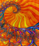 Sunny coloured spiral. A Fractal can be described as a geometric pattern that is repeated at ever smaller scales to produce irregular shapes and surfaces that Royalty Free Stock Image