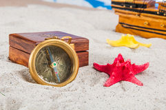 Sunny composition of beach stuff Royalty Free Stock Photo
