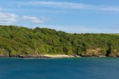 Sunny Cove-het afgezonderde strand van strandsalcombe Devon het UK in het estuarium royalty-vrije stock foto
