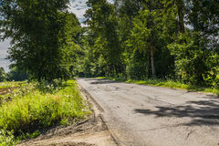 Sunny Cracked Rural Road. Old cracked, damaged asphalt road in countryside at sunny day Royalty Free Stock Photos