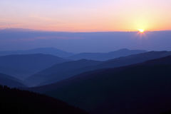 Sunny dawn on the mountain slopes Royalty Free Stock Photography