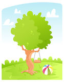 Sunny day. Vector illustration of a healthy tree in a sunny day Stock Images