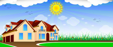 Sunny day. Beautiful house, grass, sun and clouds Stock Illustration