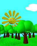 Sunny day. Illustration of a sunny landscape. Green trees on the hills and a smiley cartoony sun in the sky Stock Image