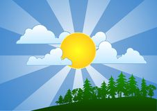 Sunny Day. Sun floating amongst the clouds. The image represents summer and fair weather Stock Photography