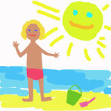 Sunny day. Child and sea Royalty Free Stock Photos