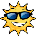 Sunny day. Happy Sun wearing blue eye glasses Royalty Free Stock Images