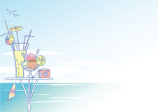 Sunny day. Vector illustration of idyllic sunny day at the seaside Royalty Free Stock Photography