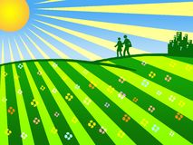 Sunny day. A walk in the park on a sunny day stock illustration