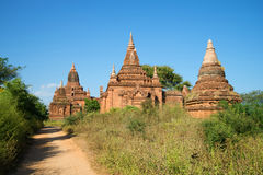 A sunny day at the ancient Buddhist pagodas of Bagan. Burma Royalty Free Stock Images