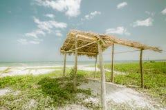Sunny Day At Tropical Beach With Fisherman Hut. Myanmar (Burma) Stock Image