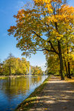Sunny day in autumn near park Royalty Free Stock Images