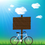 Sunny day background with bicycle and space for yo Stock Photo