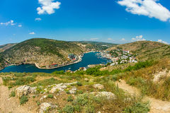 Sunny day in Balaklava bay, view from the top. Royalty Free Stock Photography