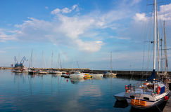 Sunny day in Balchik Harbor with a Colorful Rainbow Royalty Free Stock Photography