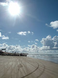 Sunny day at the beach. Very hot sun at the beach Royalty Free Stock Photo